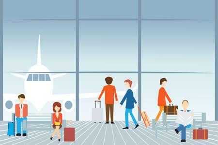 Mensen op de luchthaven, Vector illustratie. Stock Illustratie