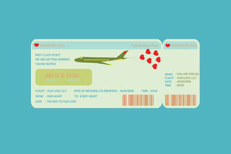 wedding invitation card: Boarding Pass Ticket , concept wedding Invitation Template Illustration