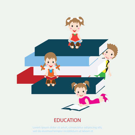 silhouette feminine: Happy enfants assis tout en lisant des livres, illustration vectorielle.