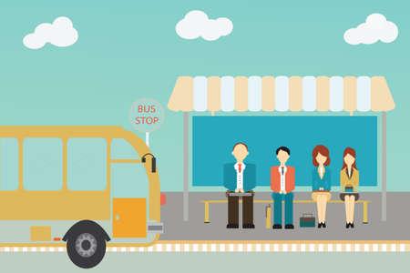 La gente espera de un autobús en la parada de autobús, ilustración vectorial. Vectores