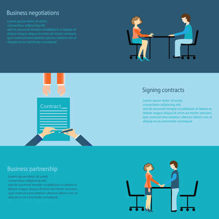 office meeting: Set of business negotiations, signing contracts, partnership, business concept,vector illustration.