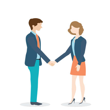 Businesswoman and businessman shaking hands on white background. cartoon character with flat design, business concept.Vector illustration.
