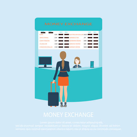counter service: Business woman standing at Money Exchange Service Counter, Vector Illustration.