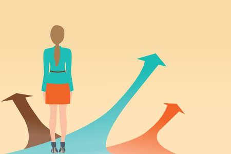 Business-Frau auf den Pfeil mit vielen Richtungen Wege stehen, Wahlen Konzept, Vektor-Illustration.
