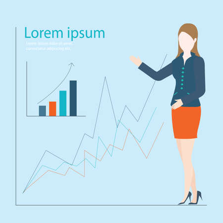 company growth: Business woman showing graph of successful finance or company growth, vector illustration.
