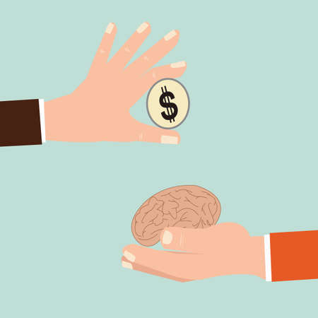 exchanging: Businessman hand exchanging human brain and money, Vector illustration, concept idea.