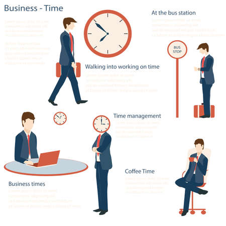worried executive: Businessman in various character with time concept. walking to the office, at the bus stop, work, coffee time, Flat design, Vector illustration.