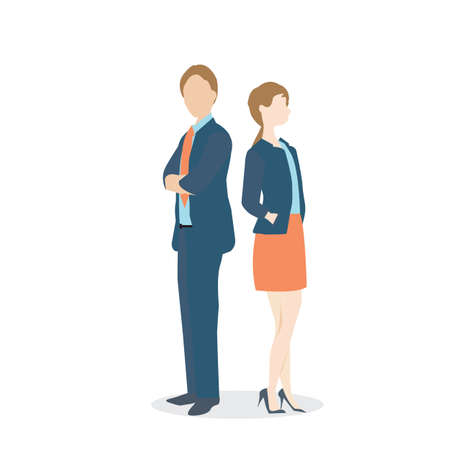 businesswoman suit: Businesswoman and businessman in formal suits, Vector illustration. Illustration
