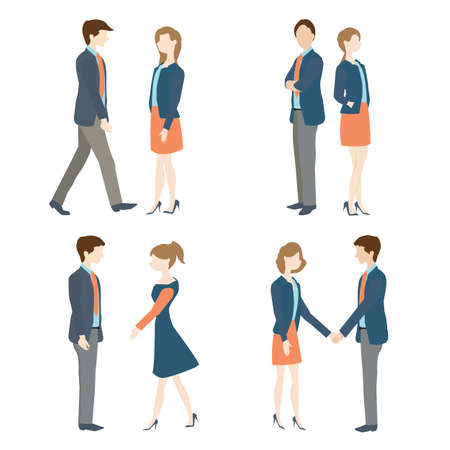 formal: Set of Businesswoman and businessman in formal suits in various positions, Vector illustration.