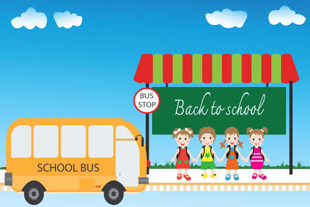 bus stop: Group of children students at bus stop, back to school , Vector cartoon illustration.