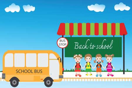 bus stop: Grupo de estudiantes de los ni�os en la parada de autob�s, de vuelta a la escuela, Vector ilustraci�n de dibujos animados. Vectores