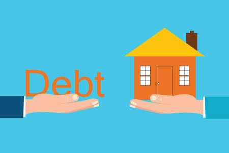 Home and debt font sitting on hand,debt concept cartoon flat design.