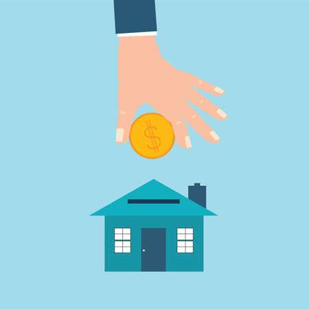 Businessman hand saving money house piggy bank, Home saving or real estate concept, Vector illustration.