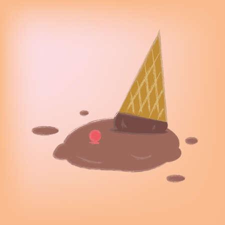 ice cream chocolate: Vector illustration ice cream chocolate falls on the ground.