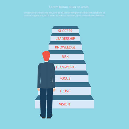 stepping: Business man stepping up a staircase to success, business concept, vector illustration. Illustration