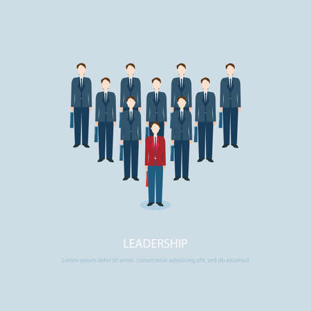 business concepts: Leadership businessman in Red businessmen lead blue colleagues, vector illustration.