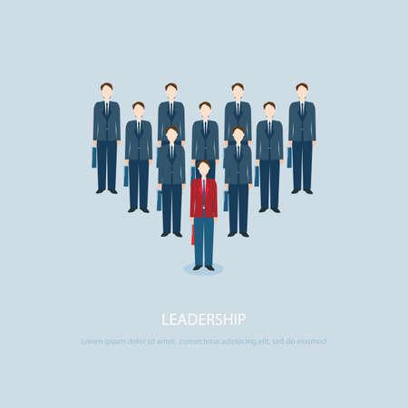 uomo rosso: Leadership imprenditore in affari rossi portano colleghi blu, illustrazione vettoriale.