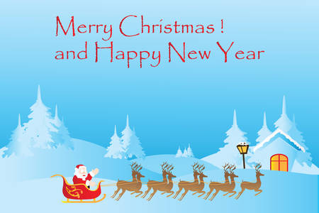 blue santa: Christmas background with reindeer and Santa Claus, vector illustration. Illustration