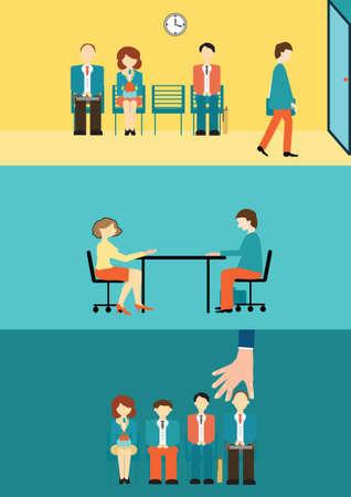 conclusion: La gente de negocios sentado y esperando para la entrevista, el concepto de contratación, vector, ilustración.
