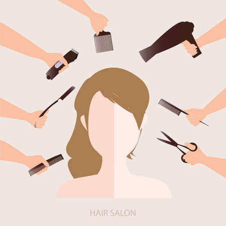 comb hair: Women in beauty salon with accessories about hair cut, vector illustration.