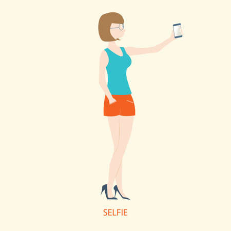 woman smartphone: Pretty woman holding smartphone to selfie, flat style, vector illustration. Illustration