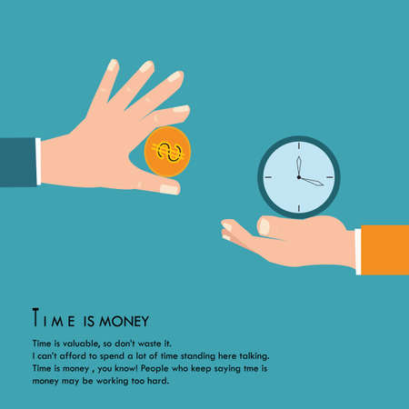 analogy: Time is money, concept,vector illustration.