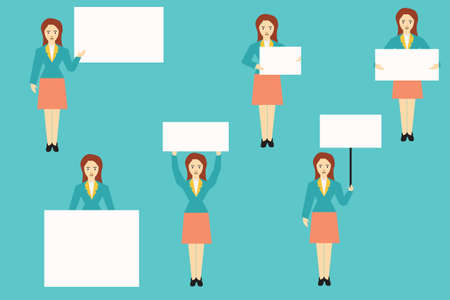 blank poster: Set of woman holding blank white banner in various action,vector illustration, concept business.