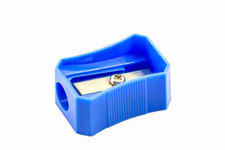 Blue pencil Sharpener on white background.