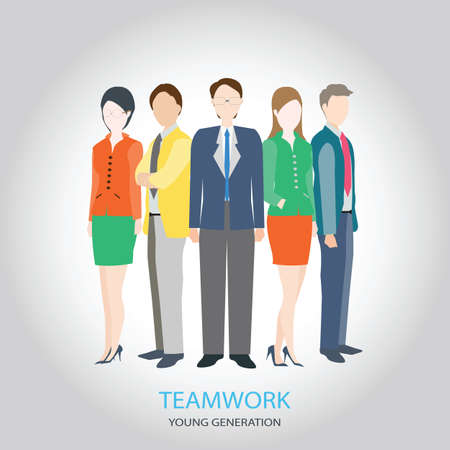 human relations: HR teamwork workforce team time and staff , young generation ,management concept, vector illustration.