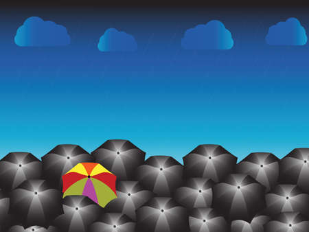 One rainbow umbrella and many blacks with rainy day, different businessman concept, Vector illustration.