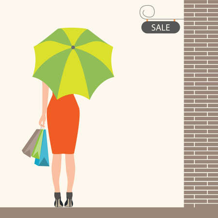 woman back: Back of woman holding shopping bags and umbrella with sale sign ,Flat design vector illustration.