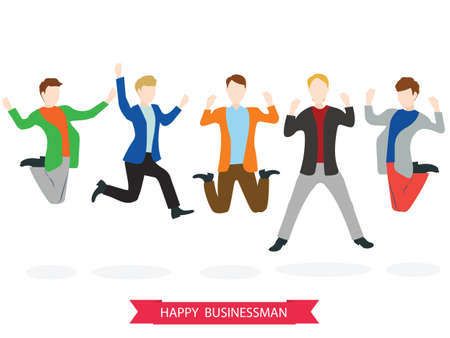high five: Happy high jumping businessman group. Vector illustration. Illustration
