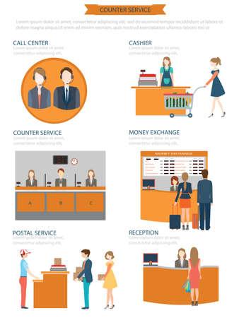 recepcion: Empleados de servicios de contador en el trabajo, cambio de moneda, cajero, servicio postal, recepción, centro de llamadas, ilustración vectorial. Vectores