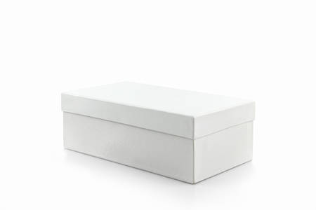 shoe box: White shoe box on white background with clipping path. For shoes, electronic device and other products.