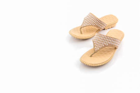 swimming shoes: Colorful of Sandals shoes on white background. Stock Photo