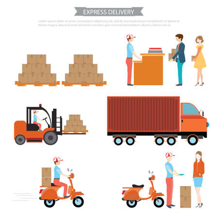 express delivery: Infographic of Logistics crate product package delivery service worker transport in process,Express delivery ,Pallet box loader truck loading process, vector illustration.