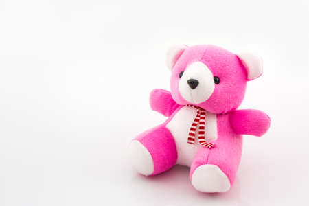 pink teddy bear: Pink teddy bear toy on white background.