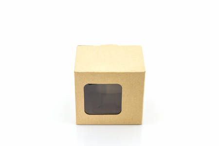 Brown paper box with transparent window on white background.