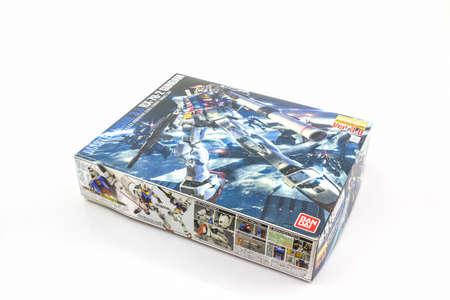 BANGKOK, THAILAND - October 10, 2015: Box of Gundam RX-78-2 MASTER GRADE model 1100 on white background. Gundam plastic model from anime series Mobile Suit Gundam.
