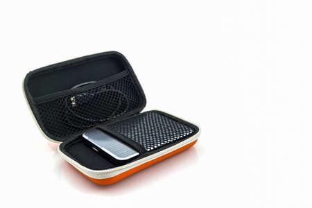 hard drive: External hard drive carrying case. Bags for external hard drive on a white background.