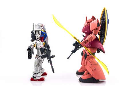 Bangkok, Thailand - November 25, 2015: Gundam model Master Grade model 1100 produced by Bandai Japan. Gundam plastic model from Sunrise's anime series Mobile Suit Gundam.