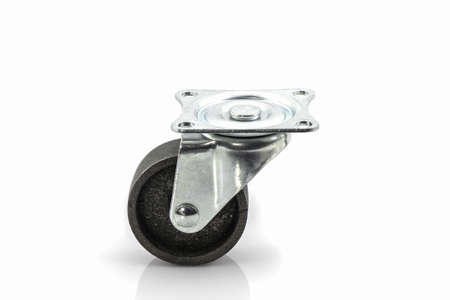 unattached: Industrial metal wheels or Caster steel wheels on white background. Stock Photo