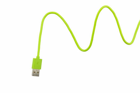 Green USB cable for smartphone on white background.