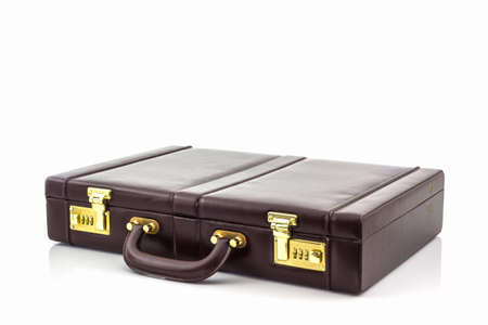 leather bag: Business leather briefcase on white background. Stock Photo