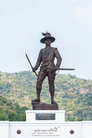 majesty: Hua Hin, Thailand - January 1, 2016: Ratchapak Park and the statues of seven former Thai kings were from loyalty constructed by the Royal Thai Army under royal permission from His Majesty King Bhumibol Adulyadej.