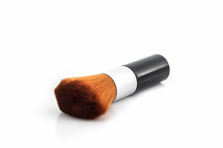 makeup a brush: Makeup brush powder Blusher on white background.
