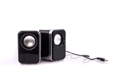 Small computer speakers on white background. Reklamní fotografie - 52130934