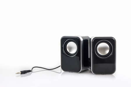 Small computer speakers on white background. Stockfoto