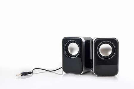 Small computer speakers on white background. Foto de archivo