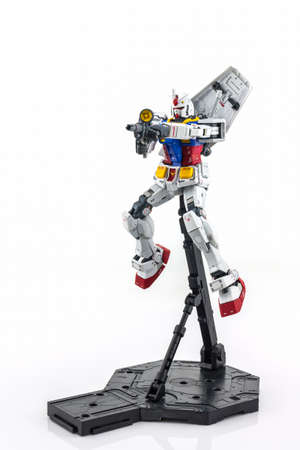 panoply: BANGKOK, THAILAND - October 10, 2015: Gundam RX-78-2 MASTER GRADE model 1100. Gundam plastic model from Sunrises anime series Mobile Suit Gundam.